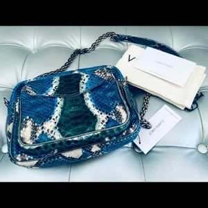 NEW! Claris Virot Python Ocean Painted Charly Bag